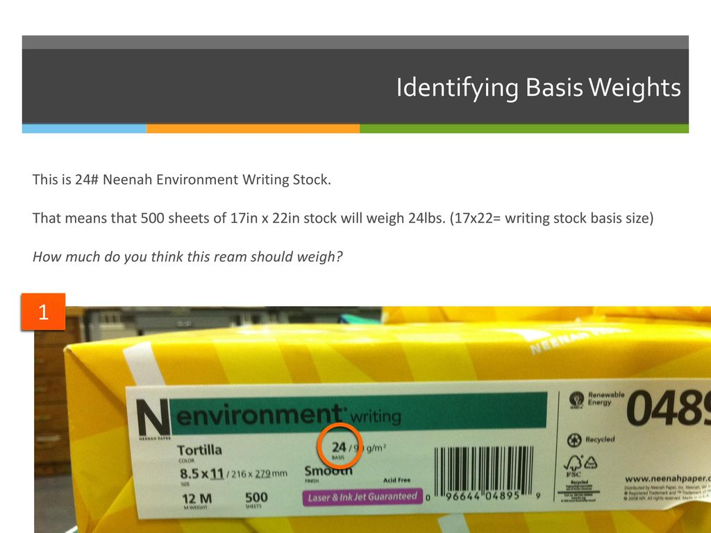 Using basic size and basis weight to calculate the weight of