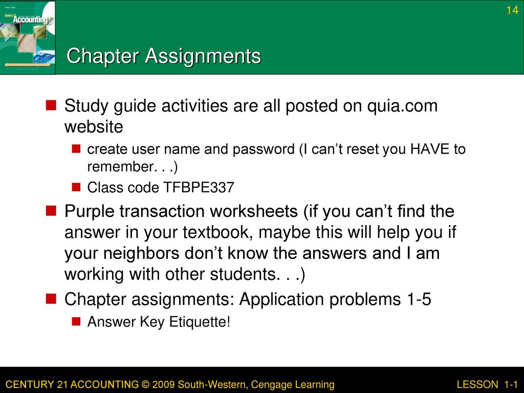 14 Chapter Assignments Study guide ...