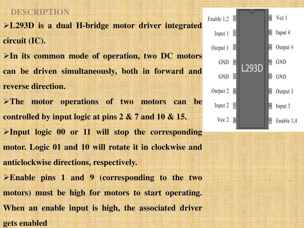 Cell Phone Operated Sage Robot Ppt Download Dtmf Dual Tone Multi Frequency Decoder Circuit Schematic Using M8870 Description L293d Is A H Bridge Motor Driver Integrated Ic