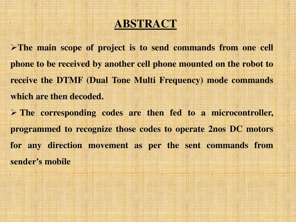 Cell Phone Operated Sage Robot Ppt Download Dtmf Decoder Touch Tone Decoding Based On A Mt8870 2 Abstract