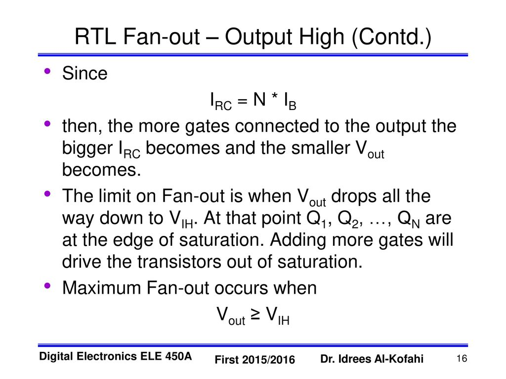 Resistor Transistor Logic Rtl Ppt Download 10 Second Fan On Delay Time By Out Output High Contd