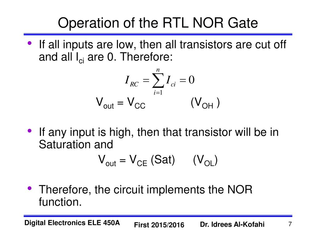 Resistor Transistor Logic Rtl Ppt Download Input And Gate Operation Of The Nor