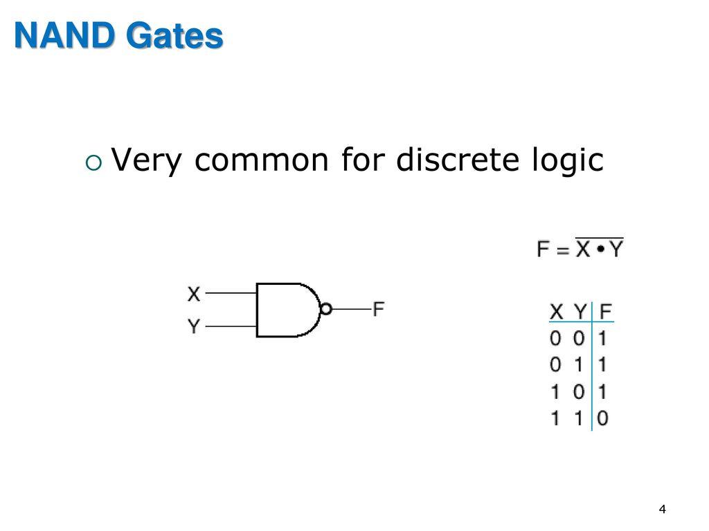 Eng2410 Digital Design Cont Combinational Logic Circuits Ppt Circuit Symbols View Diagram 4 Nand Gates Very Common For Discrete