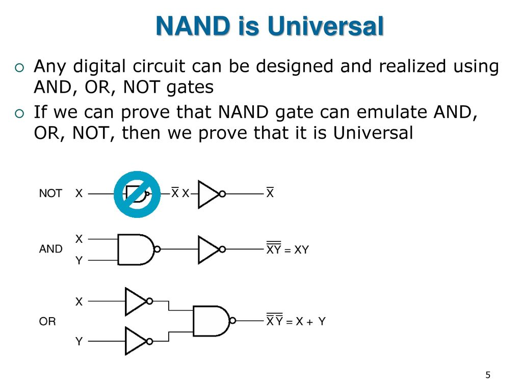 Eng2410 Digital Design Cont Combinational Logic Circuits Ppt Using Gates Nand Is Universal Any Circuit Can Be Designed And Realized Or
