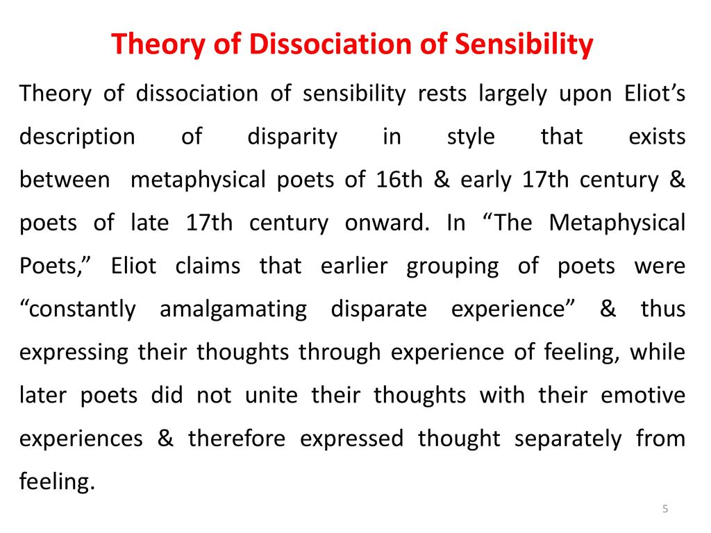dissociation of sensibility - ppt download