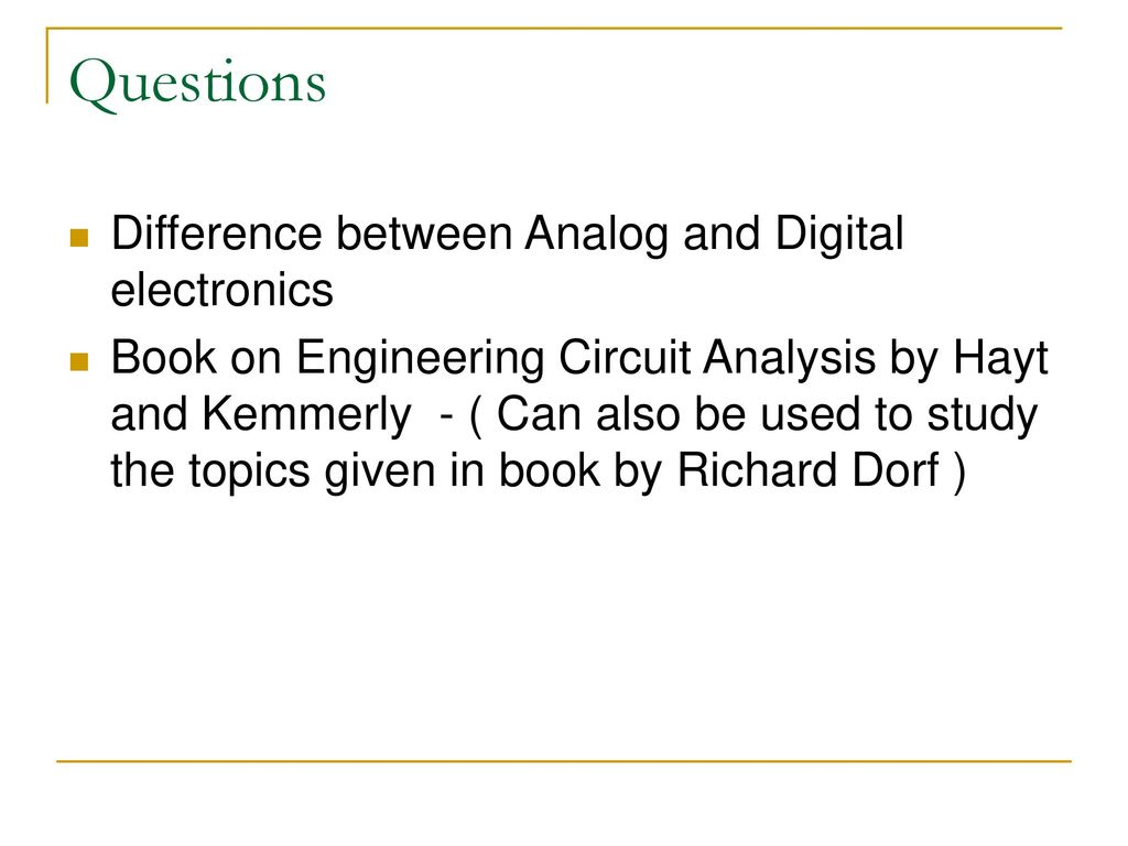 Diode Circuits And Dc Power Supply Ppt Download Electronics Book Questions Difference Between Analog Digital