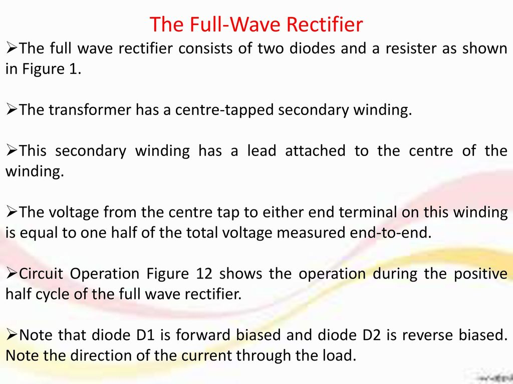 Center Tap Full Wave Rectifier Ppt Download Circuit The