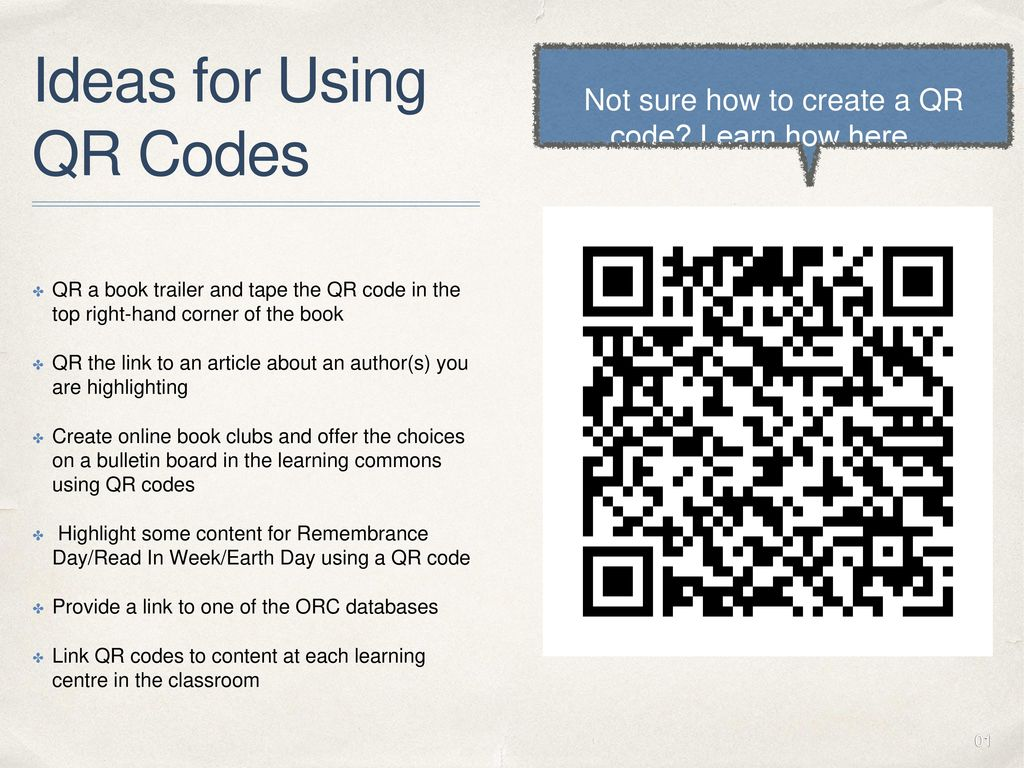 Supporting k 6 students with the online reference centre ppt download ideas for using qr codes fandeluxe Choice Image