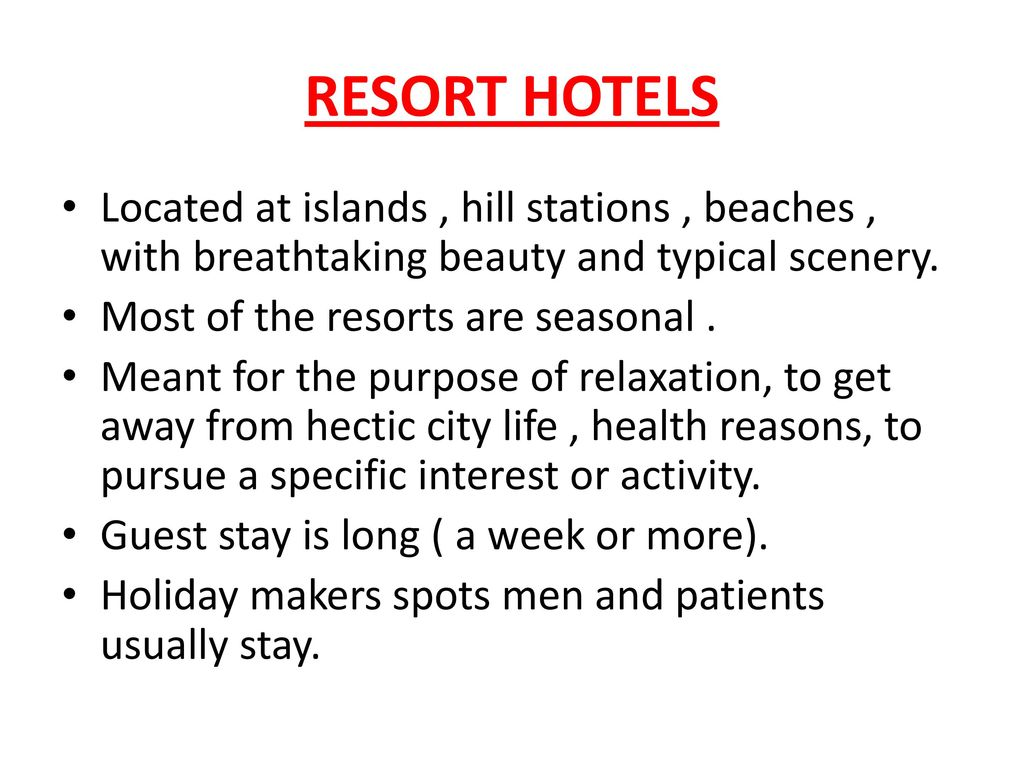 Classification of hotels on the basis of Location  - ppt