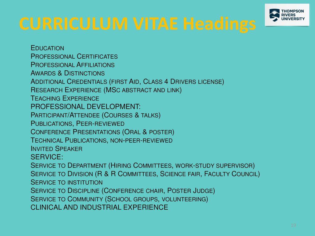 curriculum vitae heading