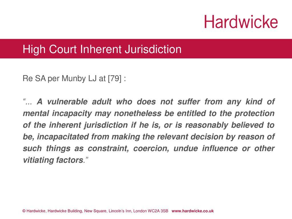 inherent jurisdiction of the court