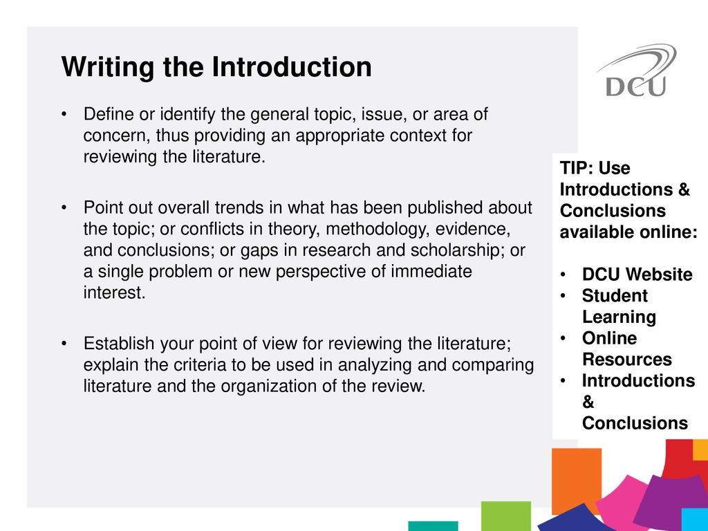 writing the introduction of a literature review A literature review needs an introduction that establishes the topic and its importance: • begin with a sentence that demonstrates the overall importance of the topic • statistics and historical background on a topic can illustrate its importance.
