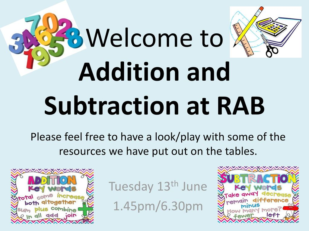 Welcome to Addition and Subtraction at RAB - ppt download