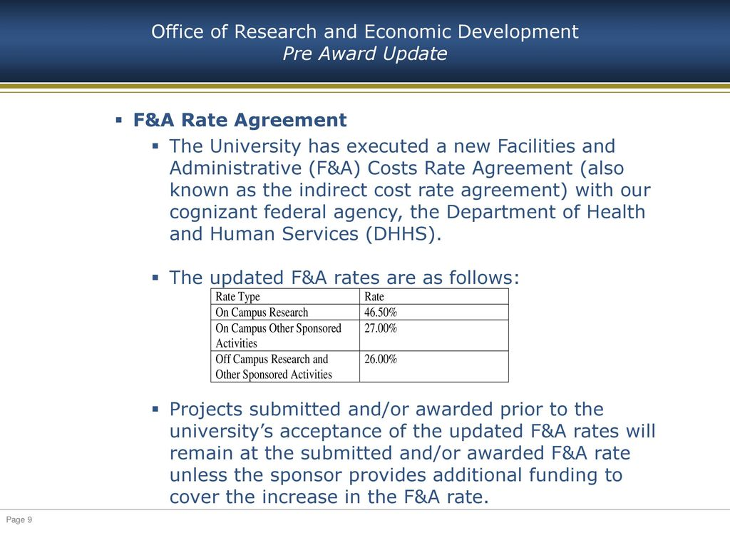 Office Of Research And Economic Development Research Administration