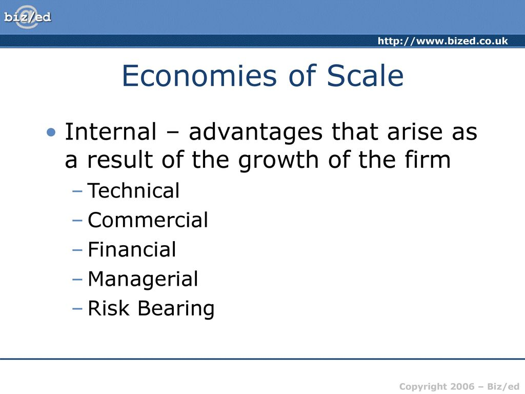 advantages of internal economies of scale
