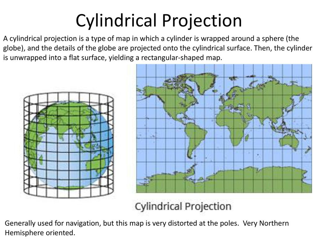 cylindrical map projection Projection description cylindrical central cylindrical map projection is perspective but not conformal nor equal area projected perspectively from the center of.
