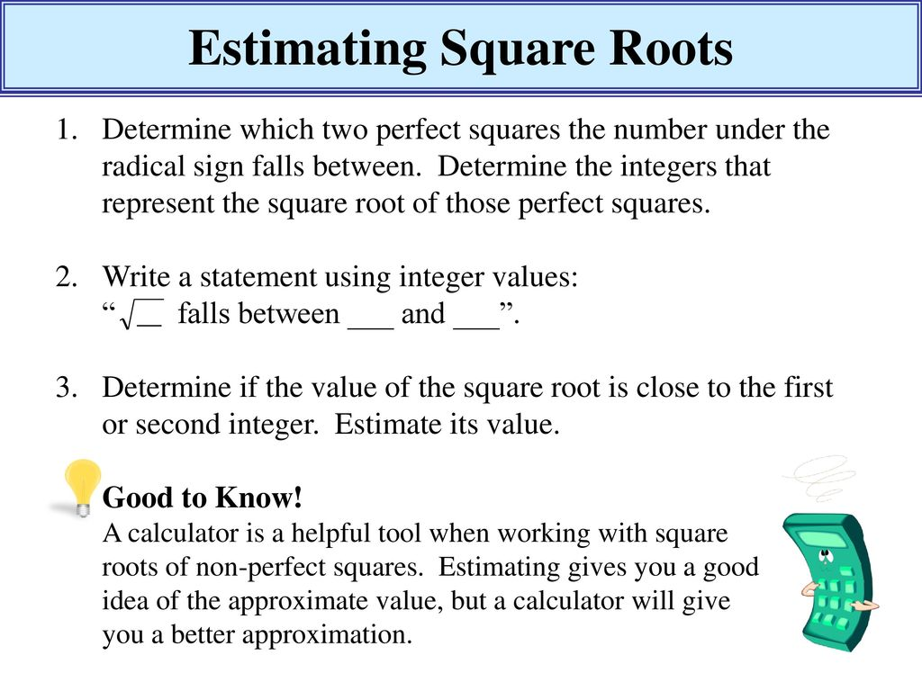 Estimating Square Roots - ppt download With Estimating Square Root Worksheet