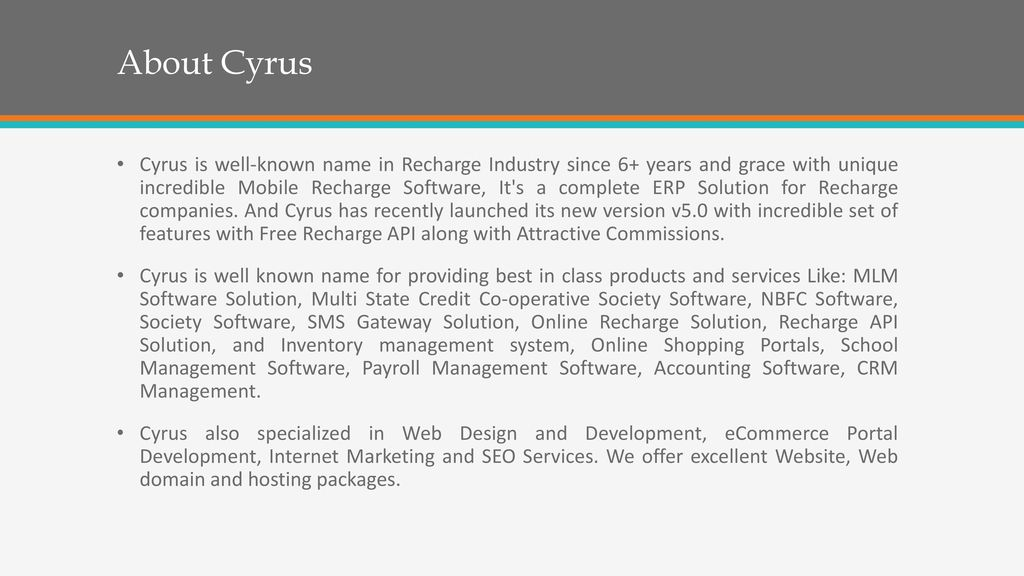 Cyrus Recharge Solutions Pvt  Ltd  - ppt download