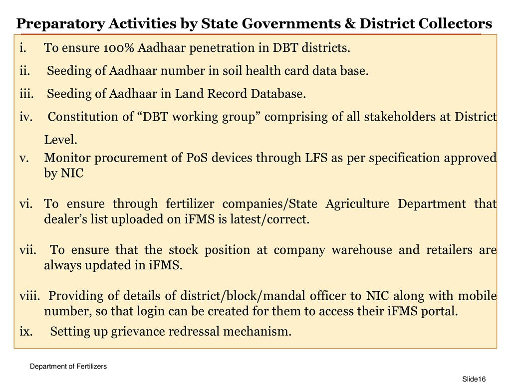 Pan India DBT Rollout in Fertilizers - ppt download