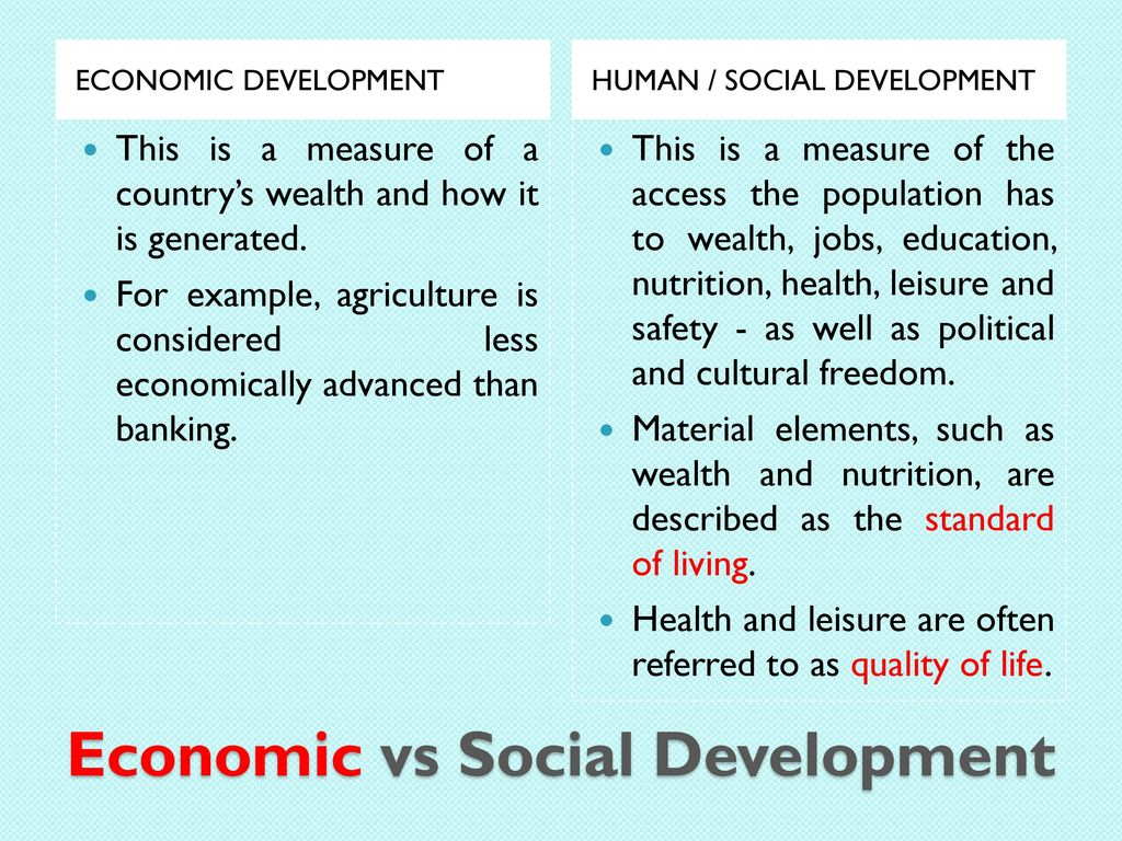 difference between human development and economic development