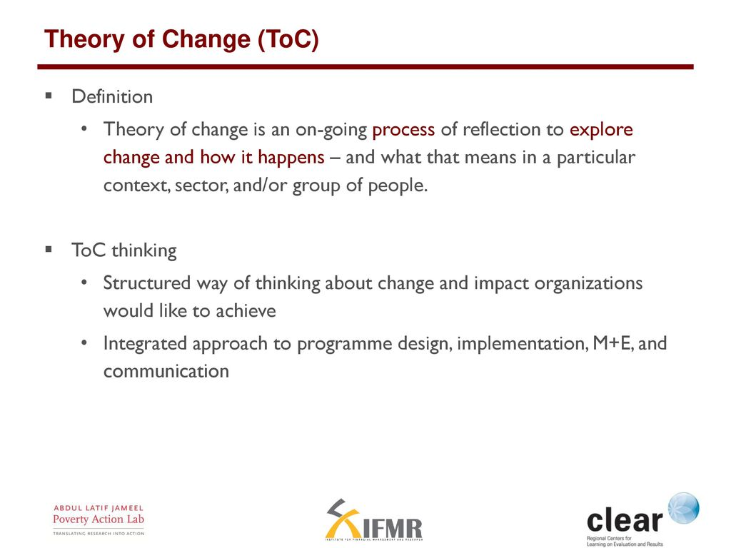Theory of change a blueprint for evaluation ppt download theory of change toc definition malvernweather Images