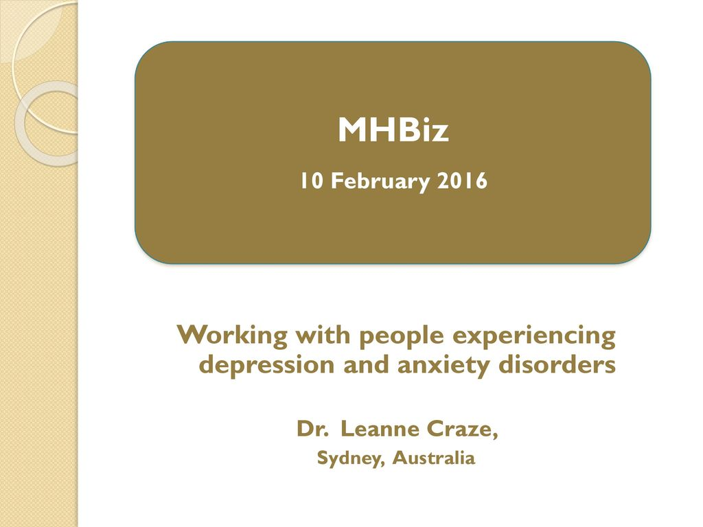 Working with people experiencing depression and anxiety disorders ...