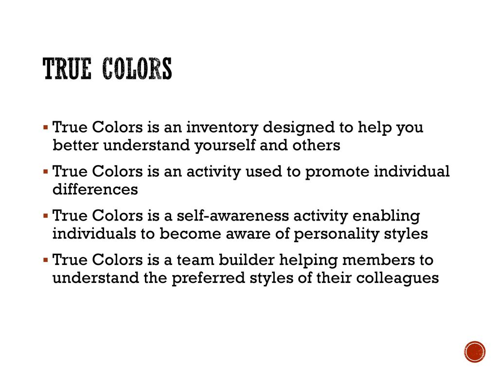 image about True Colors Personality Test Printable Version referred to as Genuine Colours Individuality Stock - ppt down load