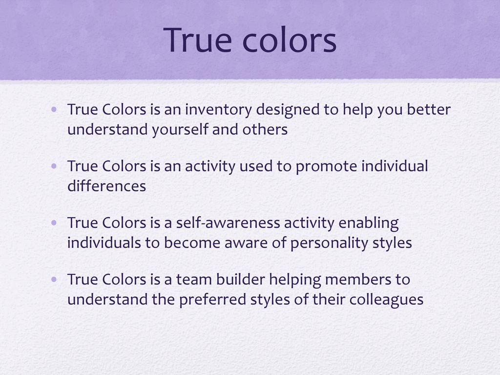photograph regarding True Colors Personality Test Printable Version known as Genuine Shades Character Stock - ppt down load