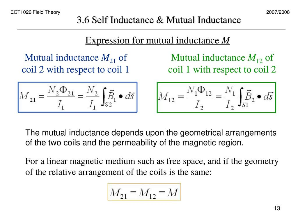 Lecture 3-6 Self Inductance and Mutual Inductance (pg. 36 – 42 ...