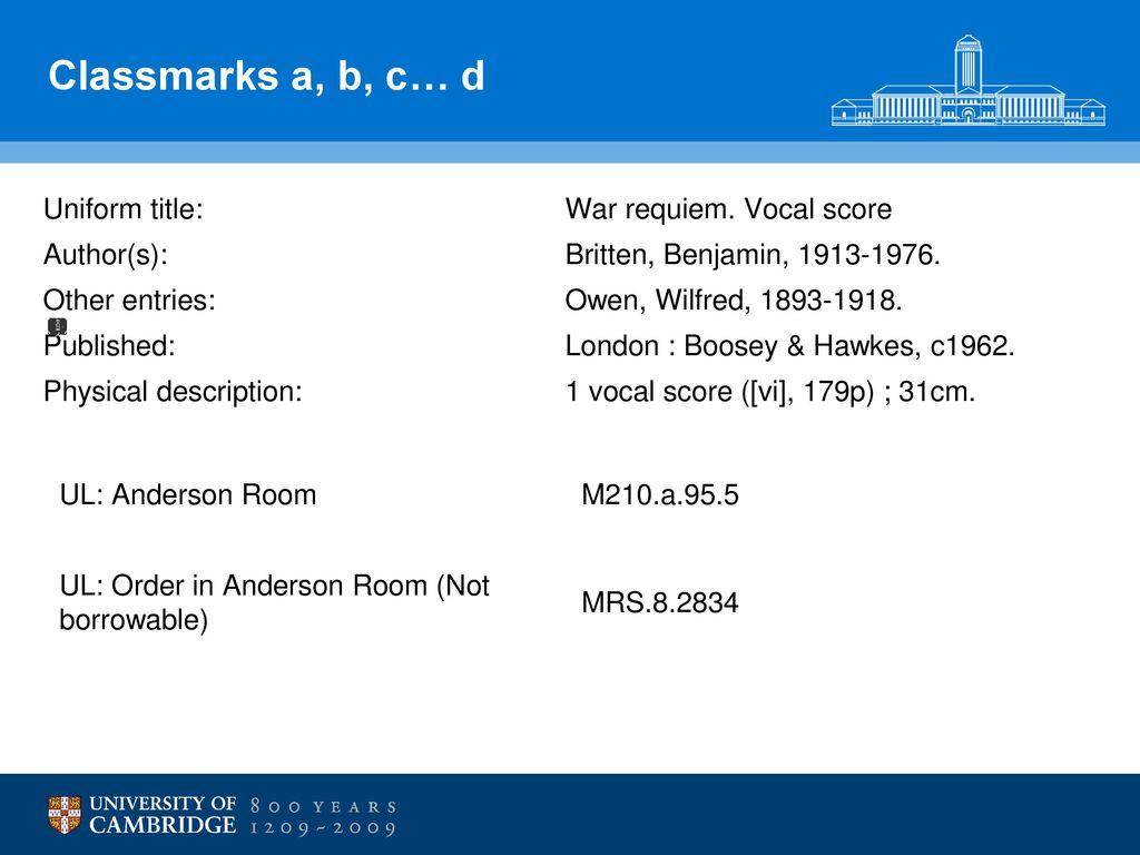 Music collections at the university of cambridge ppt download classmarks a b c d uniform title war requiem vocal score fandeluxe Choice Image