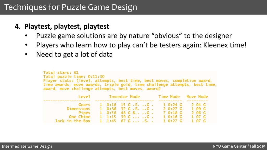 Intermediate Game Design Puzzles and Permutations - ppt download