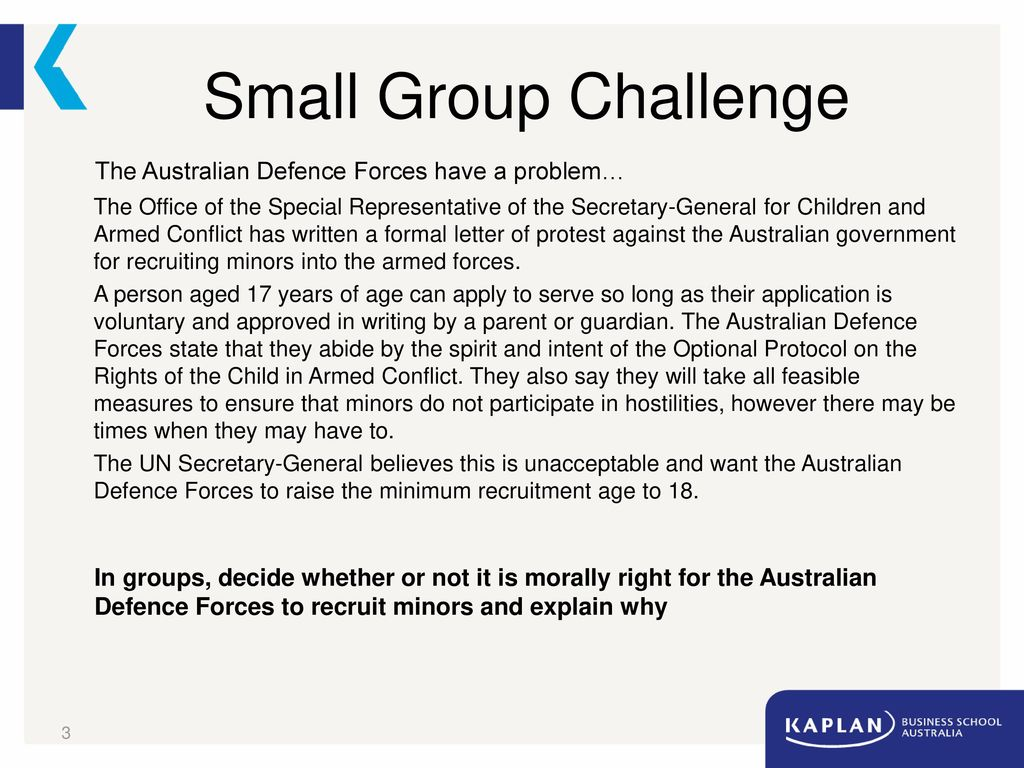 Small Group Challenge The Australian Defence Forces Have A Problem