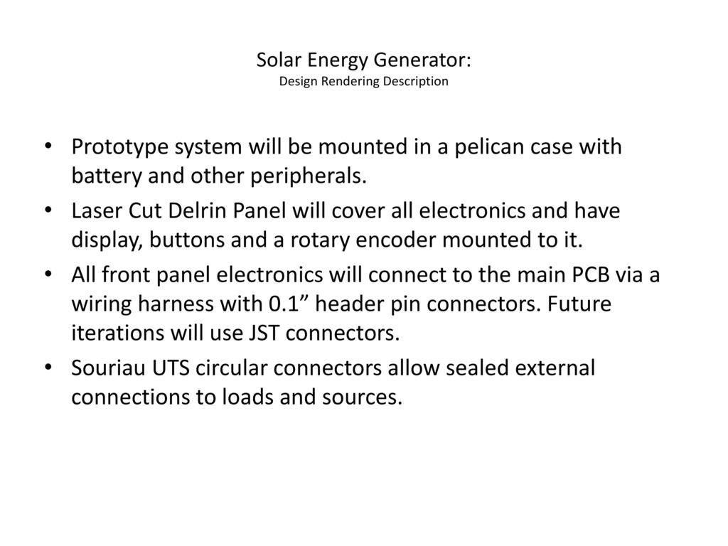 Wiring Harness Tameka Detailed Schematics Diagram For Xdm260 Solar Energy Generator Design Rendering Description Ppt Download