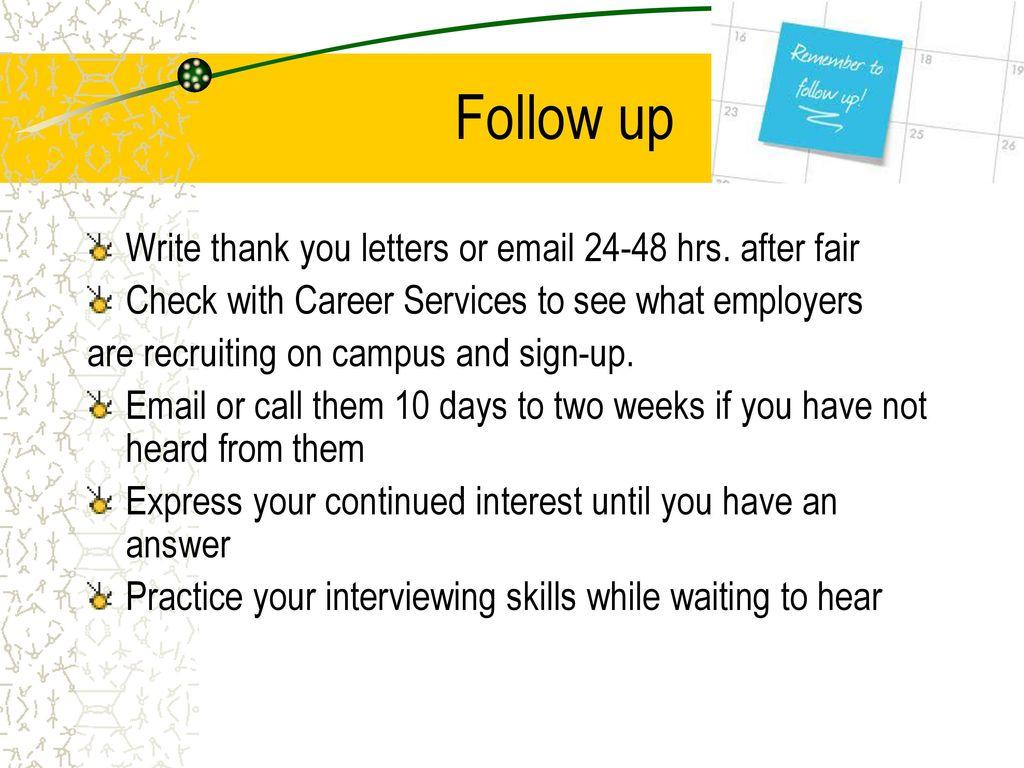 Follow Up Letter After Job Fair from slideplayer.com