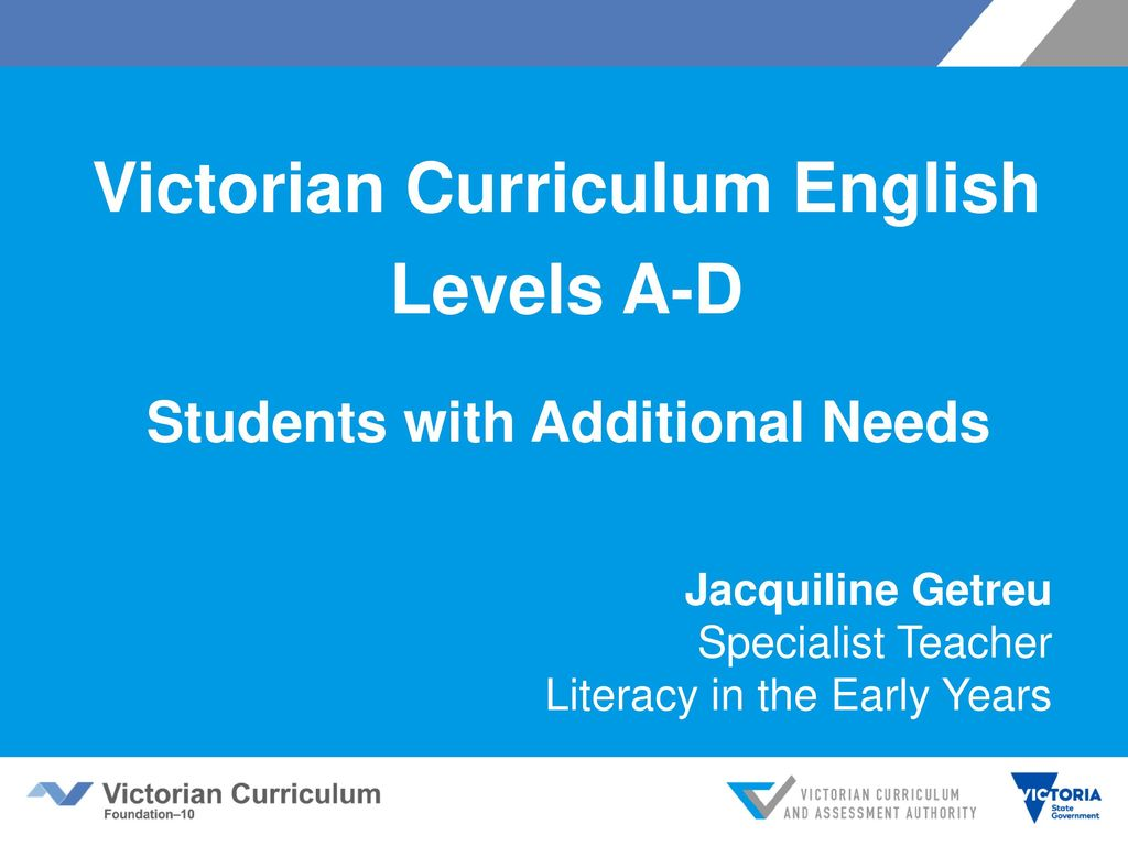 Victorian Curriculum English Students With Additional Needs Ppt