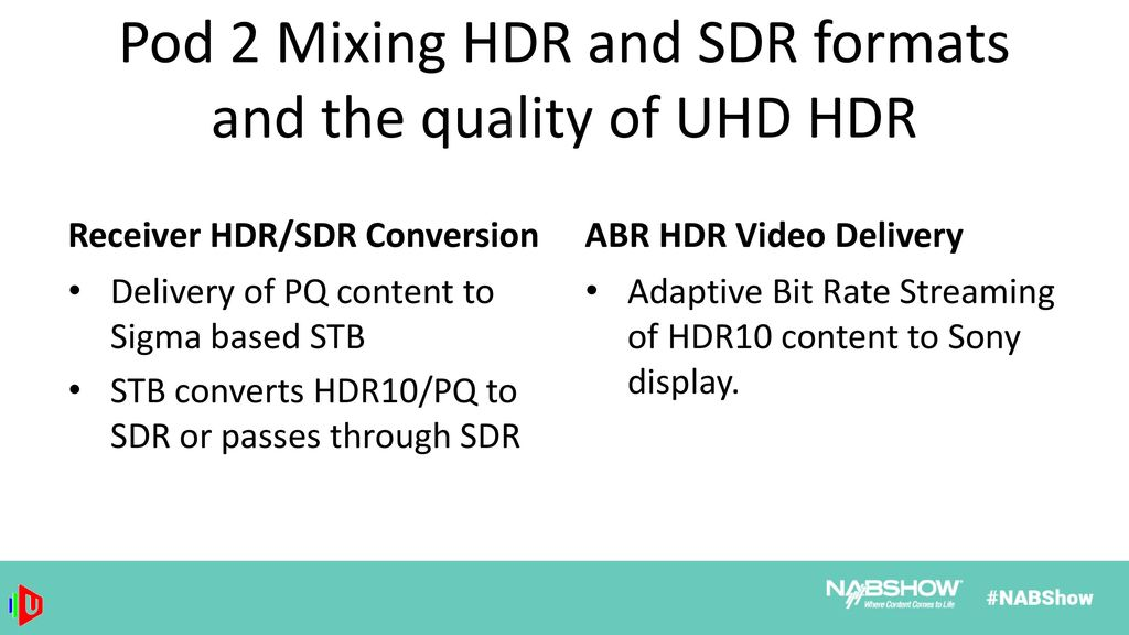 UHD HDR Session Agenda Introduction and forum progress
