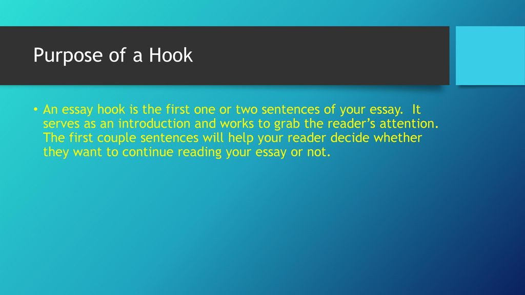 Literary Analysis Essay Hooks  Ppt Download Purpose Of A Hook