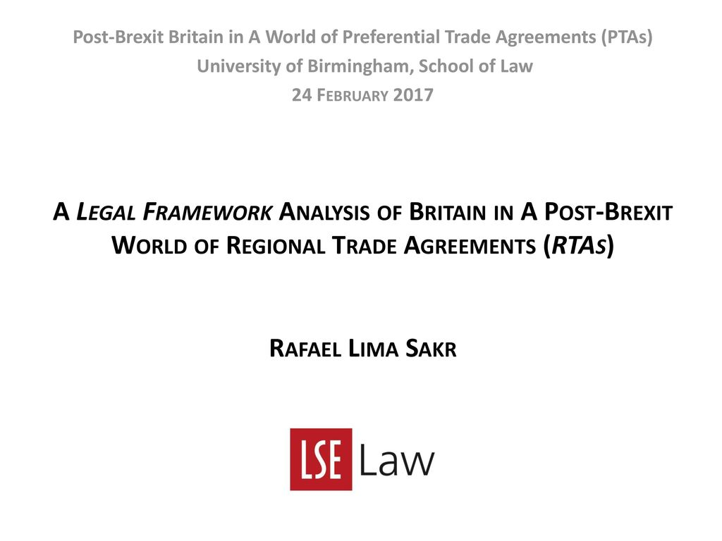 Post Brexit Britain In A World Of Preferential Trade Agreements