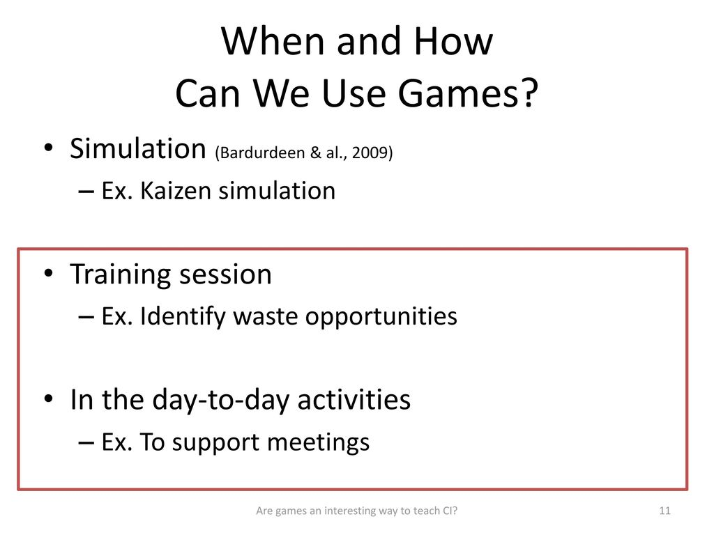 Are games an interesting way to teach continuous improvement
