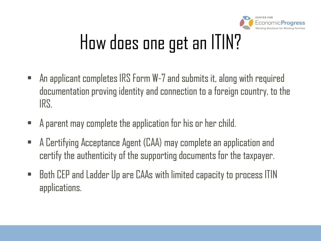 Individual Taxpayer Identification Numbers (ITIN): - ppt download