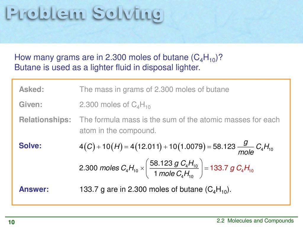 atomic mass of butane