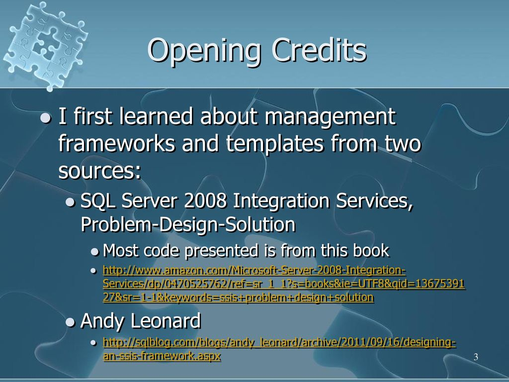 Ssis templates configurations variables ppt download opening credits i first learned about management frameworks and templates from two sources maxwellsz
