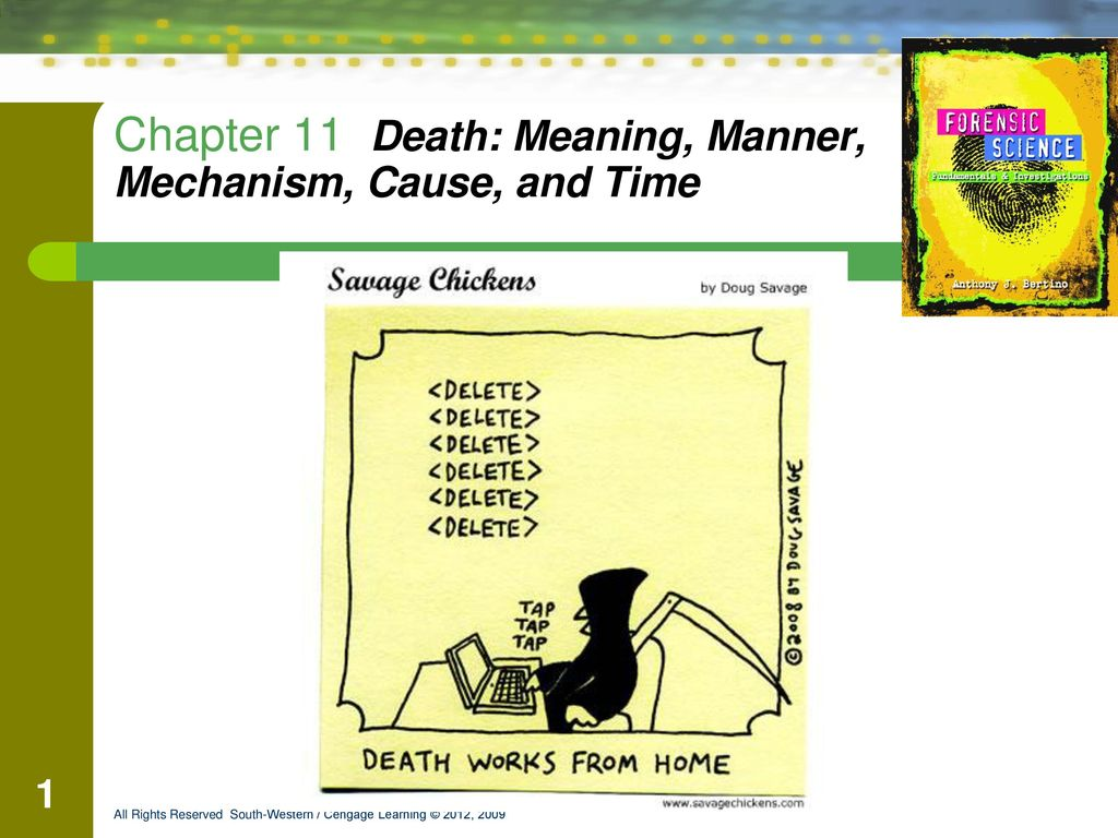 Chapter 11 Death: Meaning, Manner, Mechanism, Cause, and Time - ppt
