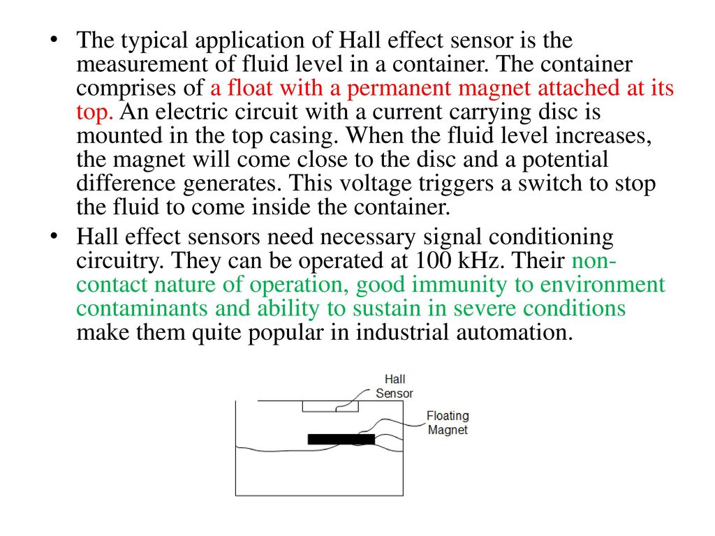 Sensors Ppt Download Hall Effect Sensor Circuit The Typical Application Of Is Measurement Fluid Level In A Container