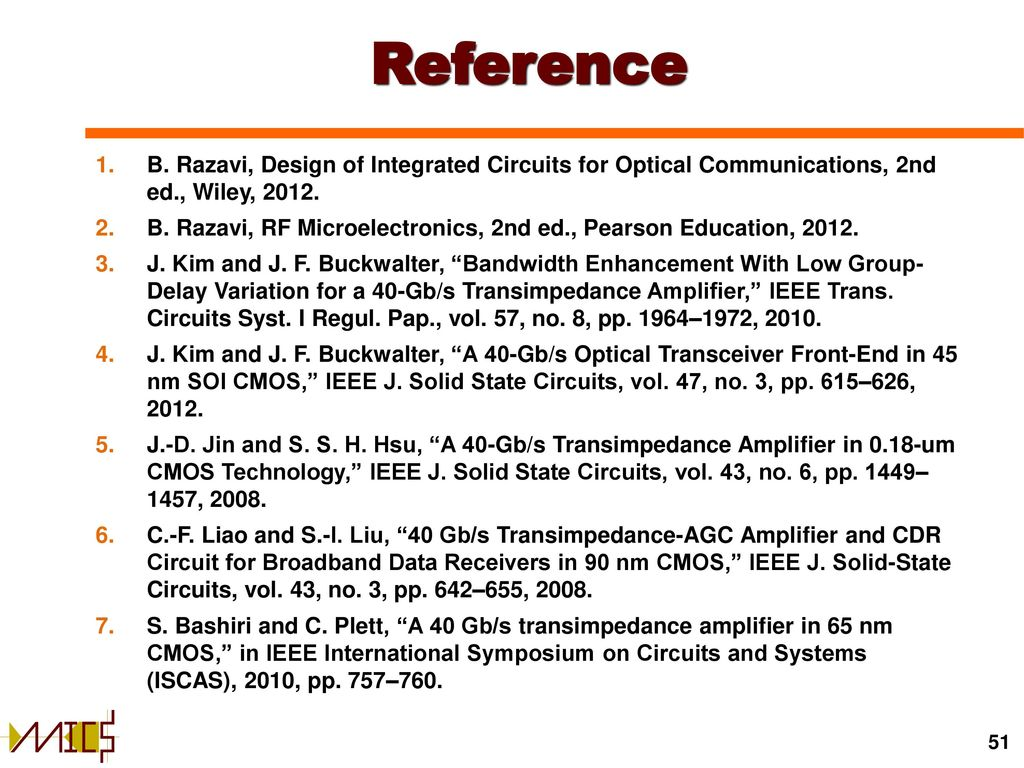 Transimpedance Amplifiers In Cmos Technology Ppt Download Amplifier Detector Circuit With Limited Q Reference B Razavi Design Of Integrated Circuits For Optical Communications 2nd Ed