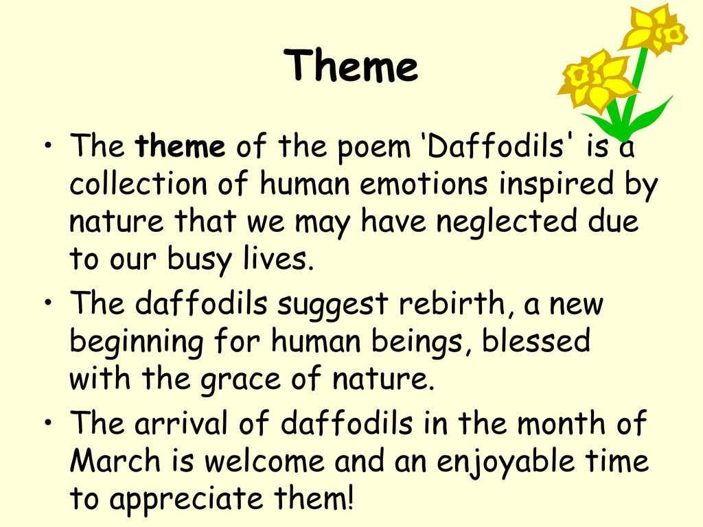 theme of the poem daffodils