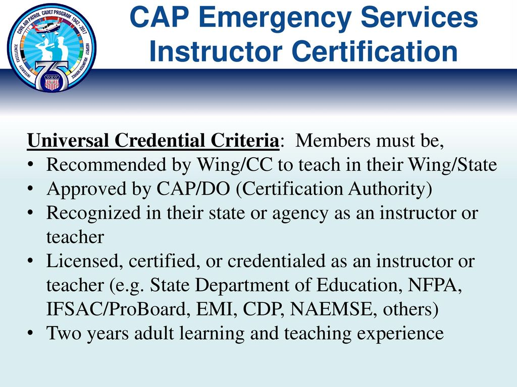 aab4ee29359 CAP Emergency Services Instructor Certification