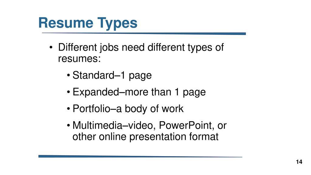 14 resume types
