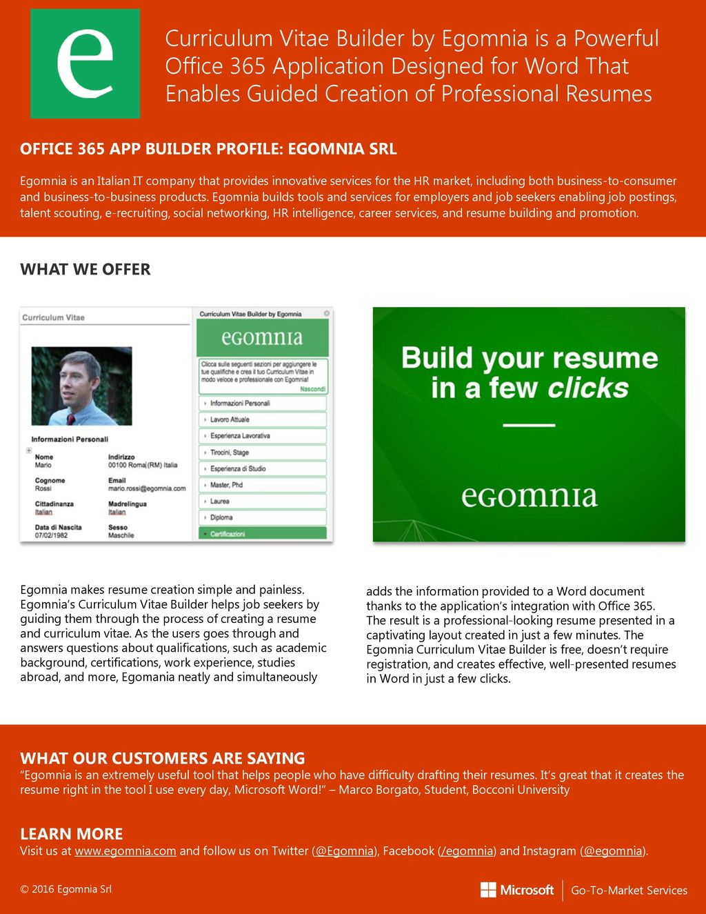 Curriculum Vitae Builder By Egomnia Is A Powerful Office 365