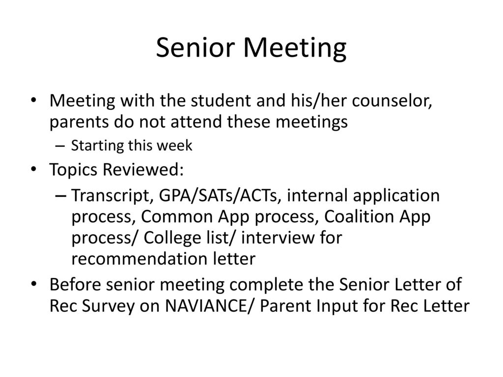 Senior student parent night ppt download senior meeting meeting with the student and hisher counselor parents do not attend thecheapjerseys Gallery